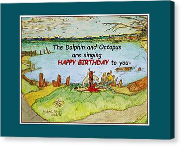 Dolphin And Octopus Singing Happy Birthday Canvas Print