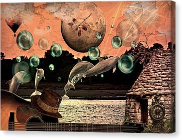 Canvas Print featuring the mixed media Dolphin Dreams by Ally  White