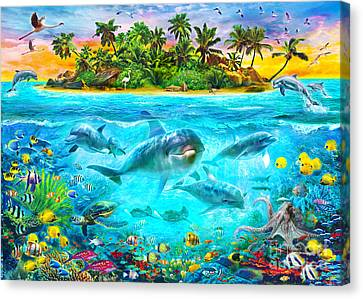 Dolphin Paradise Island Canvas Print by Jan Patrik Krasny