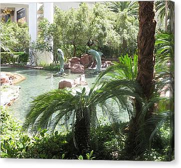 Canvas Print featuring the photograph Dolphin Pond And Garden Green by Navin Joshi