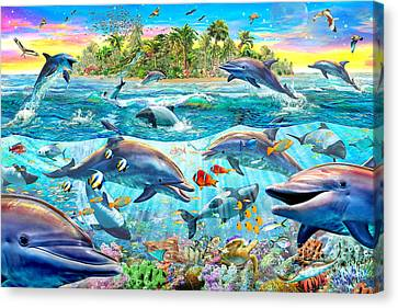 Dolphin Reef Canvas Print