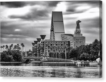 Dolphin Resort In Black And White Walt Disney World Canvas Print by Thomas Woolworth