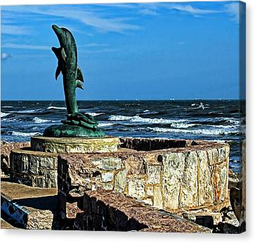 Dolphin Statue Canvas Print by Judy Vincent