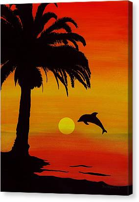 Dolphin Sunset Canvas Print by Barbara St Jean