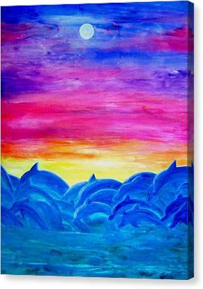 Dolphin Sunset Canvas Print by Sheri Salin