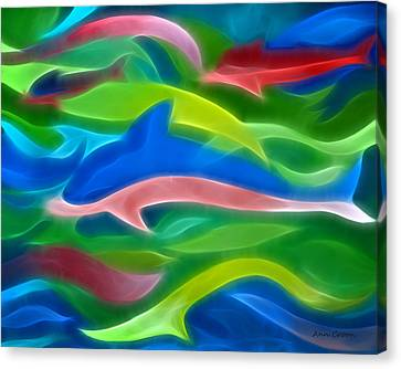 Dolphins Canvas Print by Ann Croon