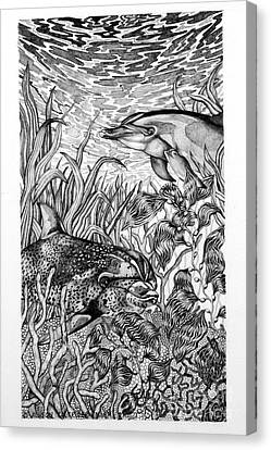 Canvas Print featuring the drawing Dolphins At Play by Alison Caltrider
