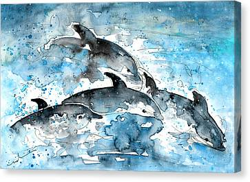 Dolphins In Gran Canaria Canvas Print by Miki De Goodaboom
