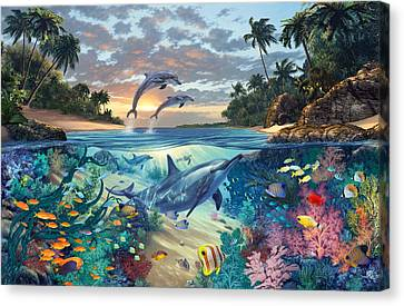 Dolphins Playground Canvas Print by Steve Read