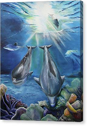 Canvas Print featuring the painting Dolphins Playing by Thomas J Herring