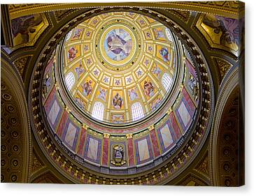 Dome Interior Of The St Stephen Basilica In Budapest Canvas Print by Artur Bogacki