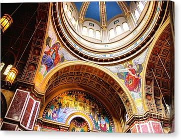 Canvas Print featuring the photograph Dome Of St. Matthews Washington Dc by John S