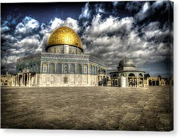 Dome Of The Rock Closeup Hdr Canvas Print by David Morefield