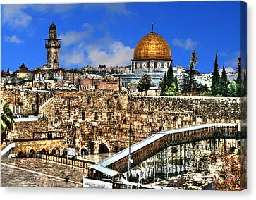 Canvas Print featuring the photograph Dome Of The Rock by Doc Braham