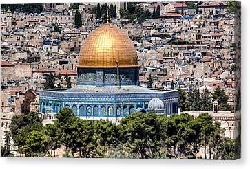 Canvas Print featuring the photograph Dome Of The Rock by Uri Baruch