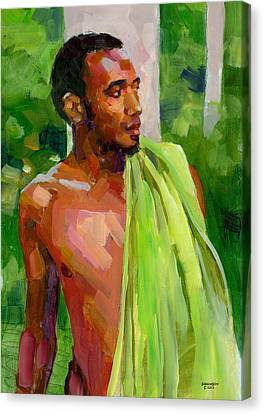 Dominican Boy With Towel Canvas Print by Douglas Simonson