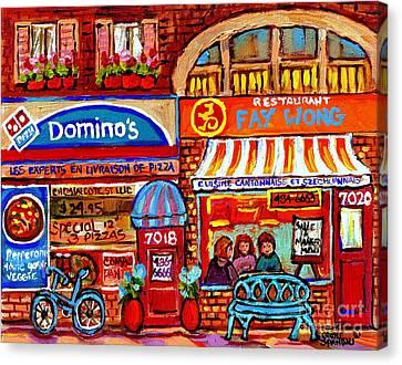 Domino Pizza And Yellow Dragon Faye Wong Chinese Restaurant Storefronts City Scenes Carole Spandau  Canvas Print by Carole Spandau