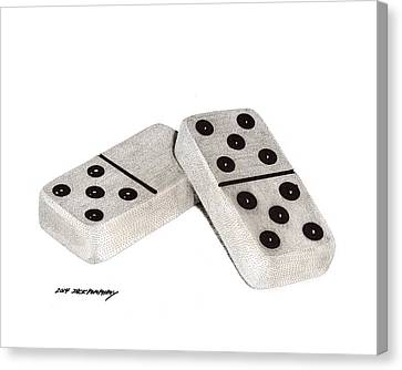 Dominoes Fifteen Five Three Canvas Print
