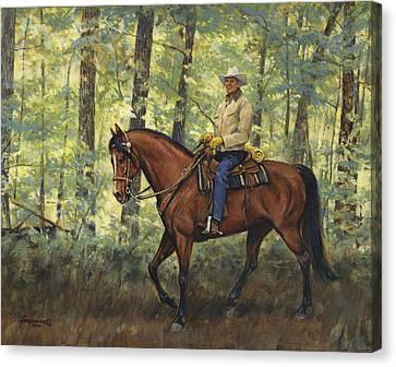 Trail Ride Canvas Print - Self Portrait Dragon Springtime by Don  Langeneckert