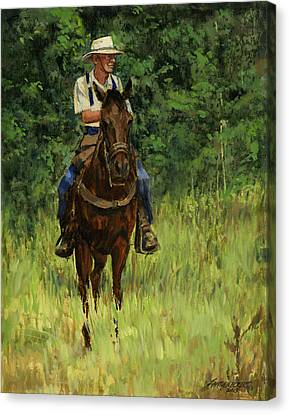 Trail Ride Canvas Print - Jack On His Horse Chico by Don  Langeneckert