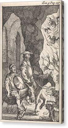 Don Quichotte And Sancho Ride Past A Smithy Which Canvas Print