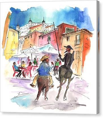 Don Quijote And Sancho Panza Entering Toledo Canvas Print by Miki De Goodaboom