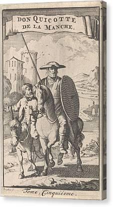 Don Quixote On Horseback, Sancho Next To Him On A Donkey Canvas Print