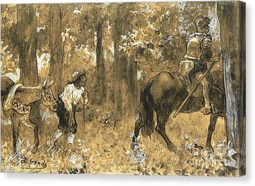 Don Quixote Y Sancho Panza Canvas Print by Pg Reproductions