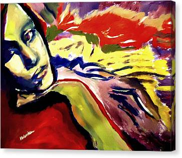 Canvas Print featuring the painting Don T Look Back by Helena Wierzbicki
