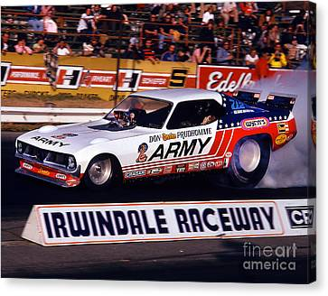 Don The Snake Prudhomme Irwindale Raceway 1970s Canvas Print by Howard Koby