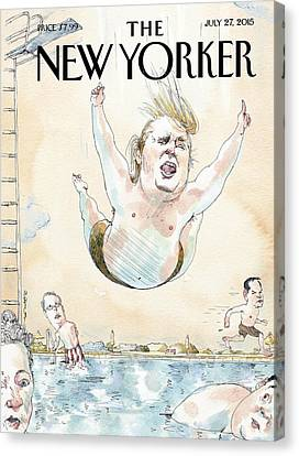 Republican Canvas Print - Donald Trumps Belly Flops Into A Swimming Pool by Barry Blitt