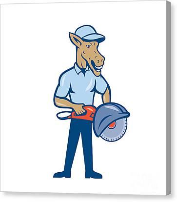 Donkey Concrete Saw Consaw Cartoon Canvas Print