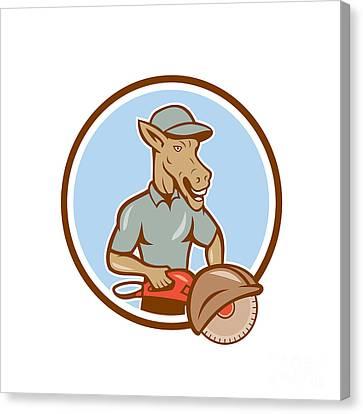 Donkey Concrete Saw Consaw Circle Cartoon Canvas Print