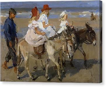 Donkey Rides Along The Beach Canvas Print