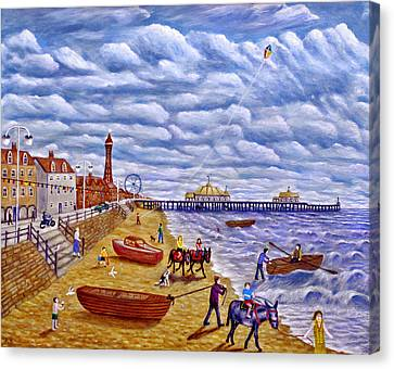 Donkey Rides On Blackpool Beach Canvas Print by Ronald Haber