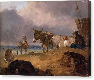 Donkeys And Figures On A Beach, Julius Caesar Ibbetson Canvas Print by Litz Collection