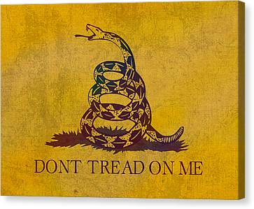 Tea Party Canvas Print - Don't Tread On Me Gadsden Flag Patriotic Emblem On Worn Distressed Yellowed Parchment by Design Turnpike