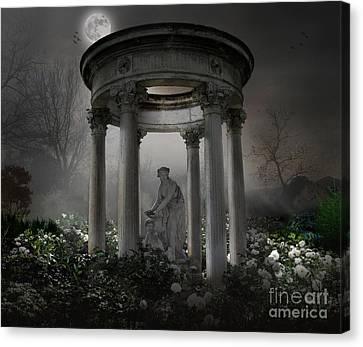 Don't Wake Up My Sleepy White Roses - Moonlight Version Canvas Print by Bedros Awak