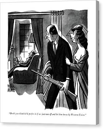 Nuptials Canvas Print - Don't You Think He'd Prefer It If We Just Ran by Peter Arno