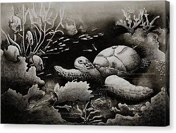 Doomed Sea Life Canvas Print by Joy Bradley