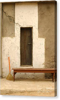 Door And Broomstick Canvas Print by Micah May
