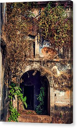 Abandoned House Canvas Print - Door At Old Portuguese House. Goa. India by Jenny Rainbow