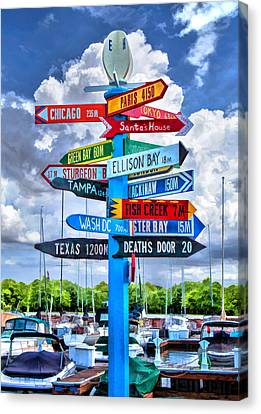 Door County Directional Sign In Egg Harbor Canvas Print by Christopher Arndt