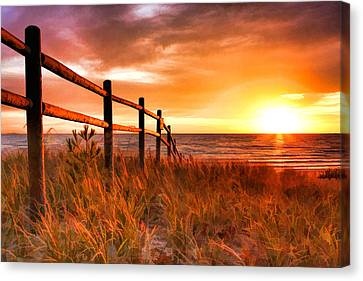 Door County Europe Bay Fence Sunrise Canvas Print by Christopher Arndt