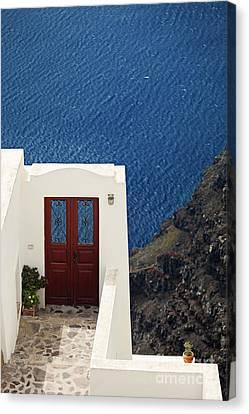 Door Facing The Aegean Sea Canvas Print by Aiolos Greek Collections