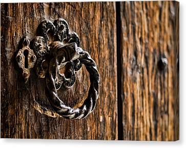 Medieval Entrance Canvas Print - Door Knocker by Heather Applegate