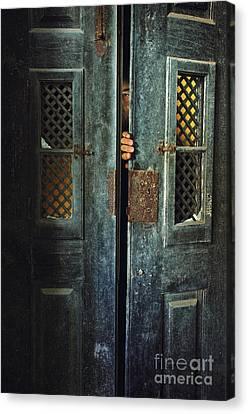 Creepy Canvas Print - Door Peeking by Carlos Caetano