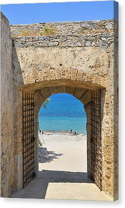 Turquois Water Canvas Print - Door To Joy And Serenity - Beautiful Blue Water Is Waiting by Matthias Hauser
