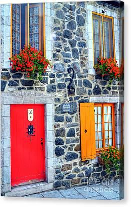 Doors Of Quebec 2 Canvas Print by Mel Steinhauer