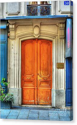 Panel Door Canvas Print - Doors Of Rue Cler 3 by Mel Steinhauer